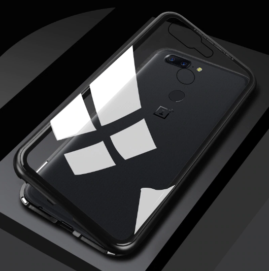 OnePlus 5T Magnetic Auto-Fit Aluminium Armoured Toughened Glass Case