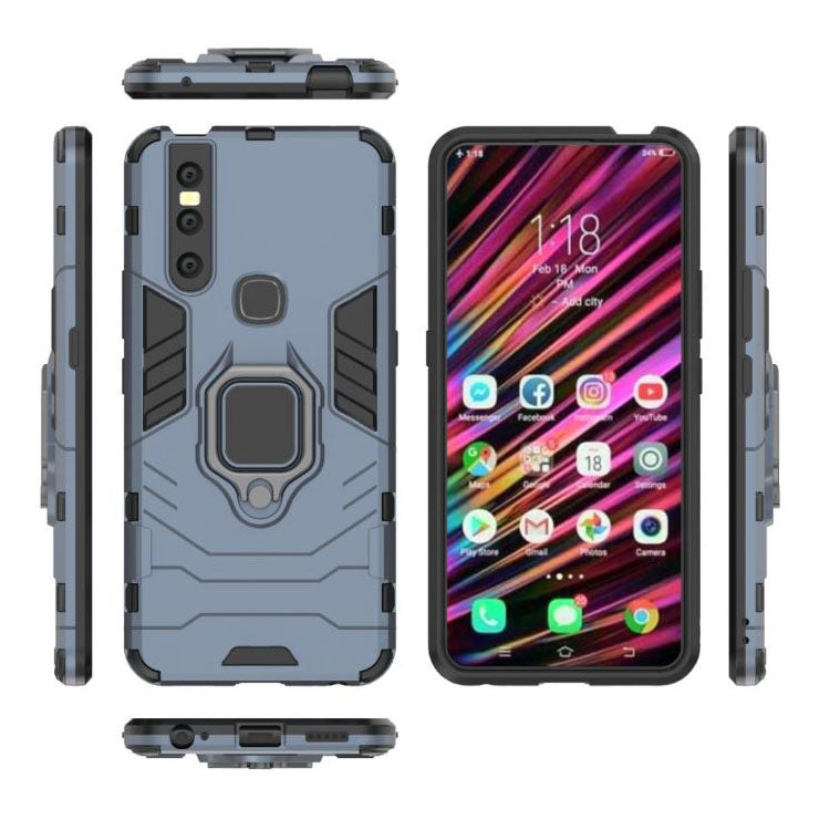 VIVO V15 Pro Shockproof Rugged Iron Man Armour Case With Rotating Magnetic Ring