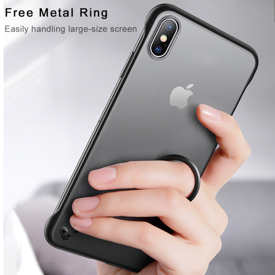 Apple iPhone XS Max Ultra Slim Premium Frameless Transparent Hard Case (With Free Metal Ring)