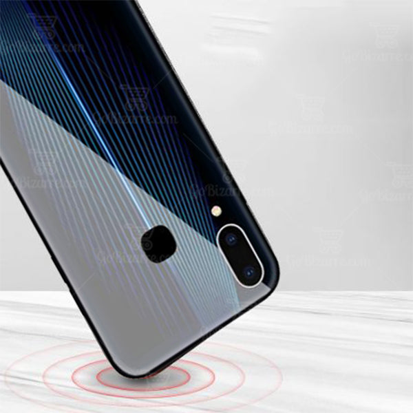Samsung Galaxy A30 Electric Wave Design Toughened Glass Hard Case