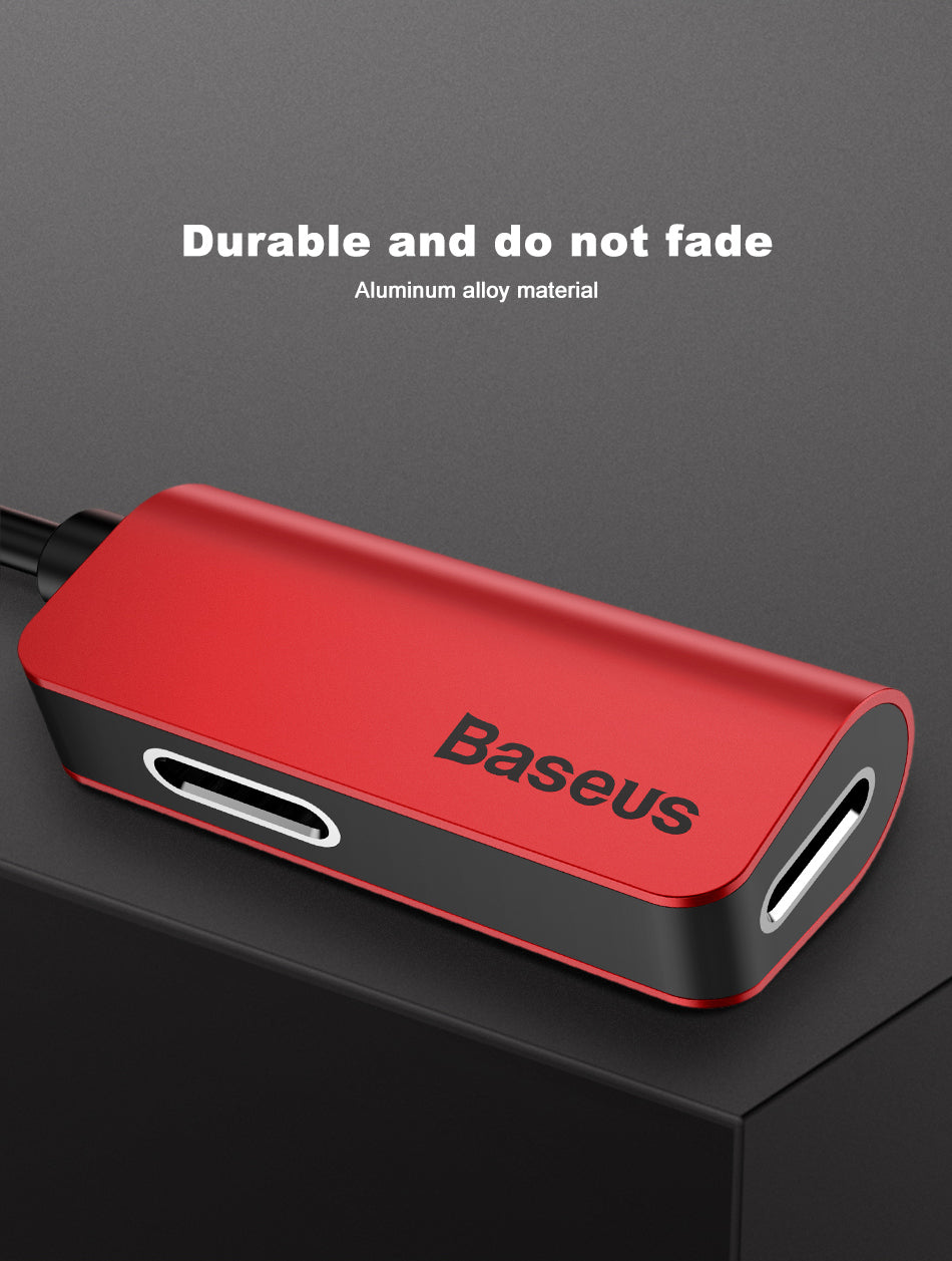 Baseus 3 in 1 Charging, Calling & Music Audio Extension Chord for Apple iPhone 7, iPhone 8 & iPhone X