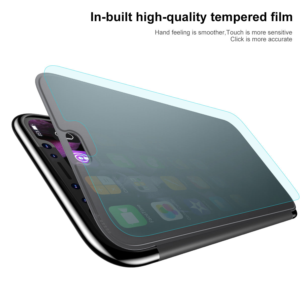 Apple iPhone Xs Max Luxurious Touchable Tempered Glass Ultra Slim Flip Case
