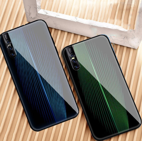 VIVO V15 Pro Electric Wave Design Toughened Glass Hard Case