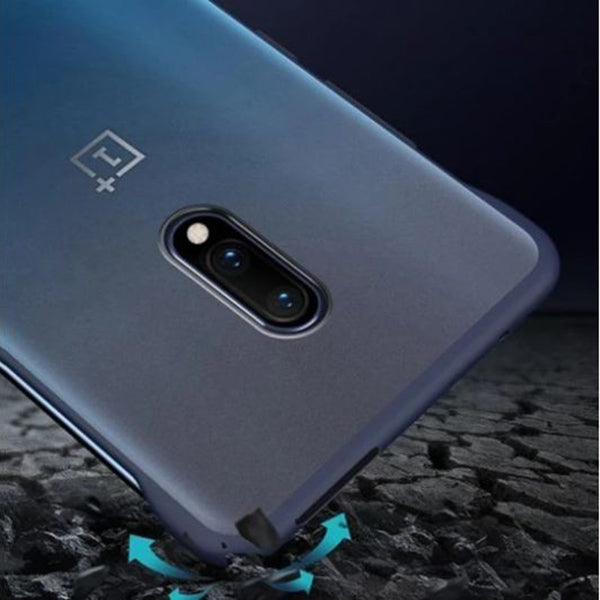 OnePlus 7 Ultra Slim Premium Frameless Transparent Hard Case (With Free Metal Ring)