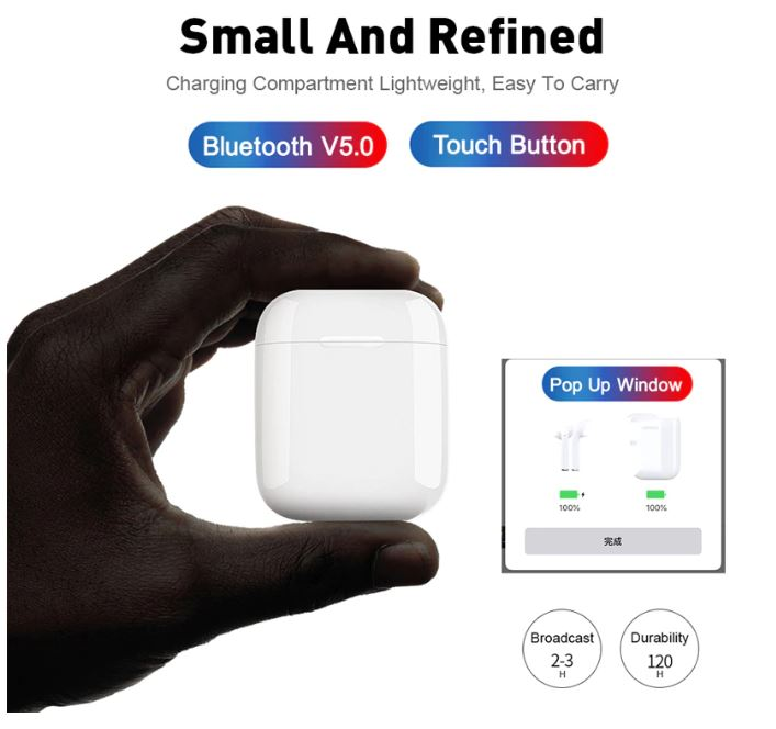 100% Genuine i12 Touch Control Sensor Enabled Smart Wireless Earbuds (Compatible with Apple & Android)