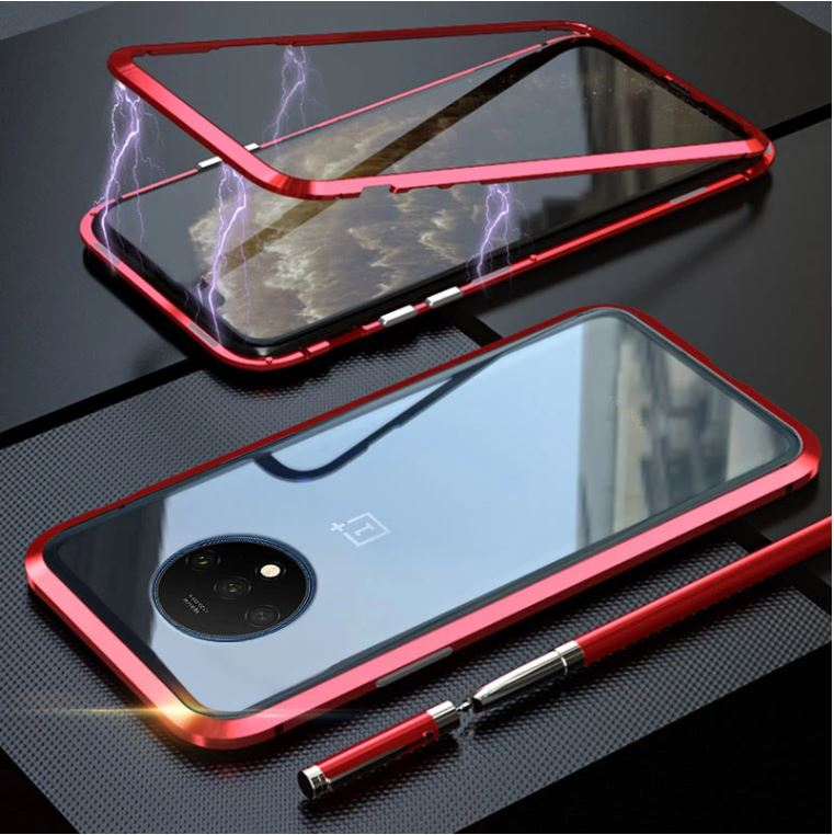 OnePlus 7T Pro Magnetic Auto-Fit Aluminium Armoured Toughened Glass Case