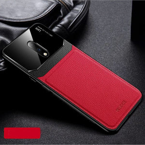 OnePlus 7 Luxurious Design Half Glass Leather Shockproof Ultra Slim Hard Case