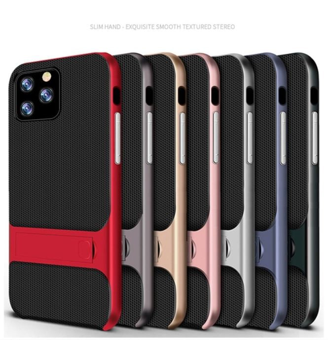 Apple iPhone 11 Pro Max Luxurious Kickstand Full Protection Matte Hybrid Shell