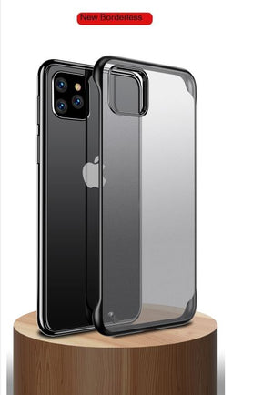 Apple iPhone 11 Pro Max Ultra Slim Premium Frameless Transparent Hard Case (with Free Metal Ring)