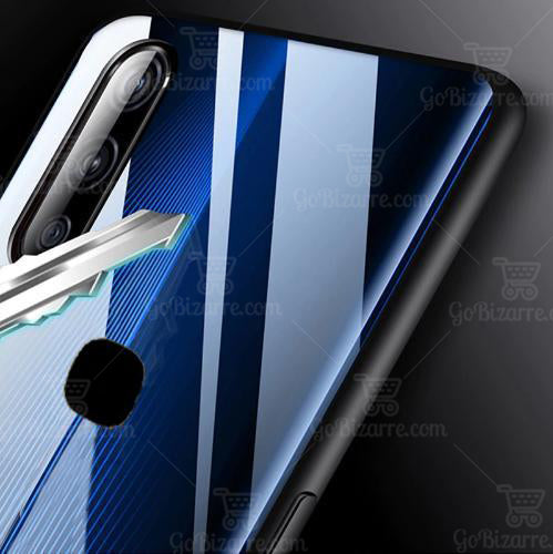 VIVO V15 Electric Wave Design Toughened Glass Hard Case