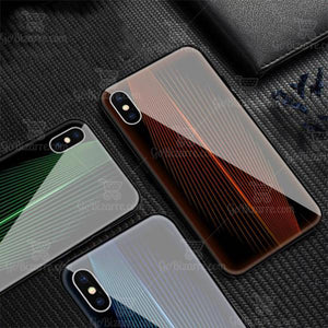 Apple Iphone X/XS Electric Wave Design Toughened Glass Hard Case
