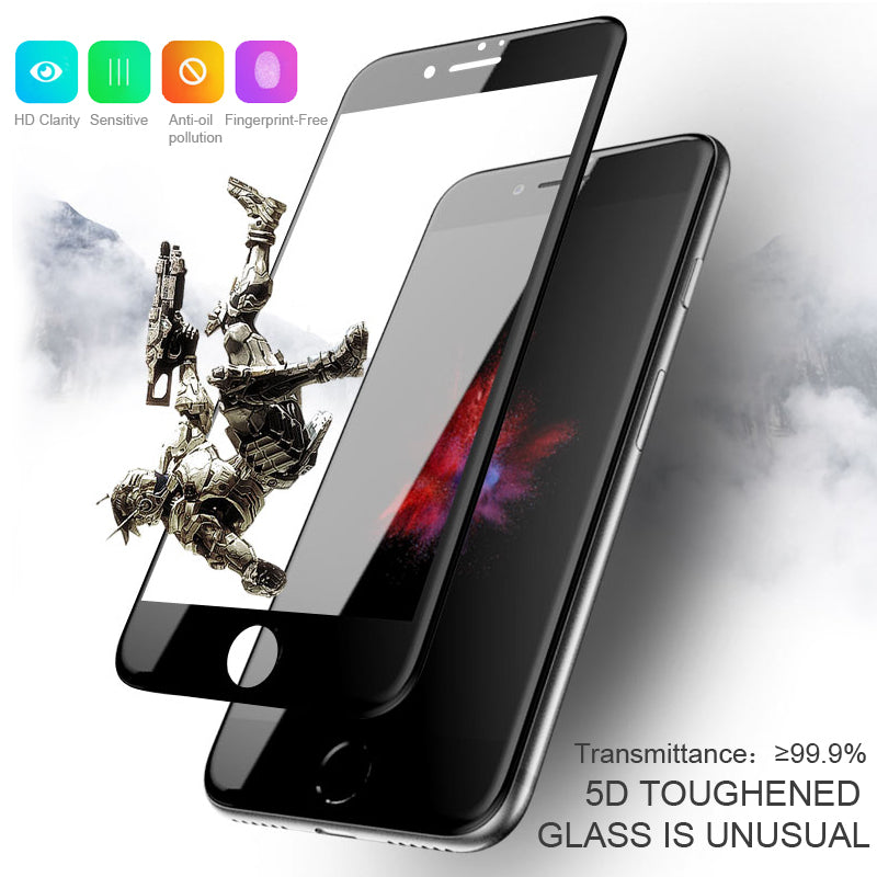 100% Original iPhone 7 & iPhone 8 5D Curved Tempered Glass Screen Protector