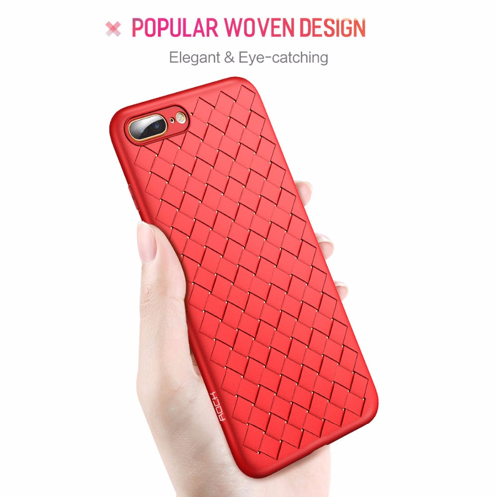 Apple iPhone 7 Plus & iPhone 8 Plus Genuine Ultra Slim Weave Series Soft Case (With Free Back Screen Protector)