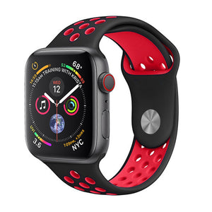 Apple iWatch 42mm Silicone Sport Strap Loop Design Black Red (Watch not included)