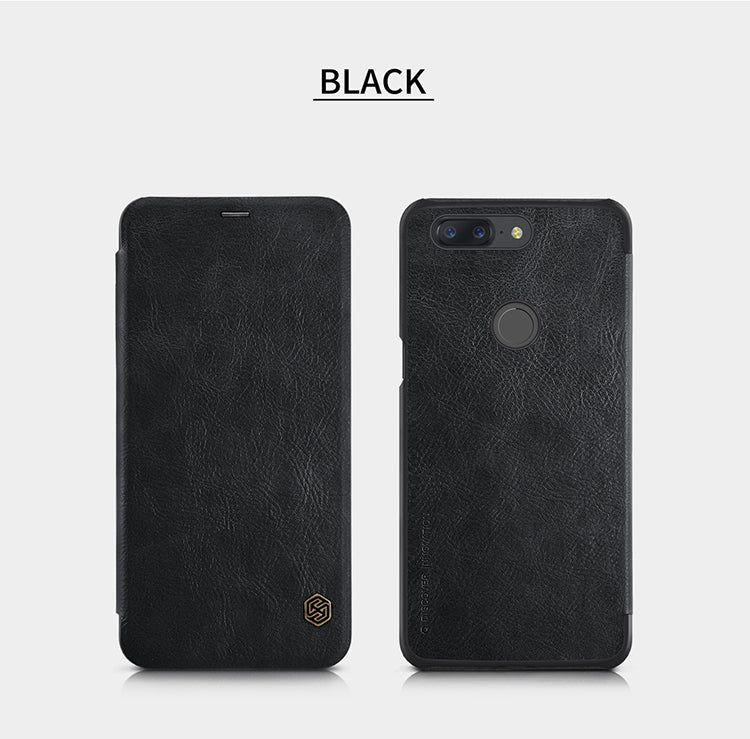 OnePlus 5T Genuine Leather Flip Case With Wakeup Card Pocket