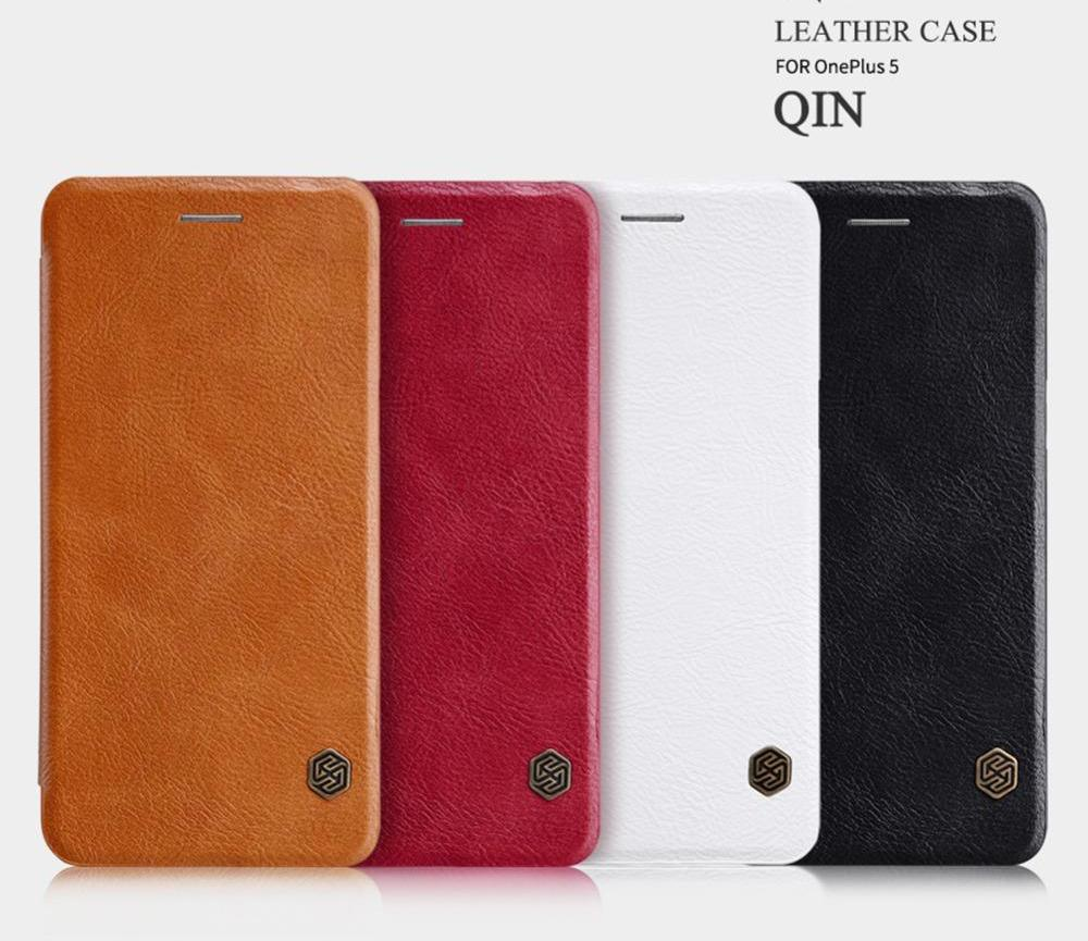 OnePlus 5 Genuine Leather Flip Case With Wakeup Card Pocket