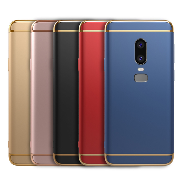 new style f09e2 f1cef OnePlus 6 Luxurious Electroplated 3 in 1 Hard Back Case