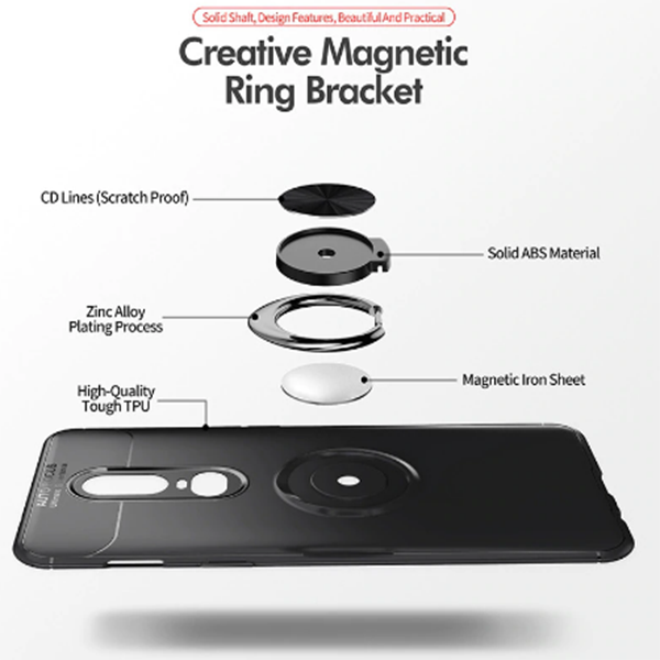 OnePlus 7 Pro Rotating Finger Ring Holder Cum Kickstand Soft Silicone Case