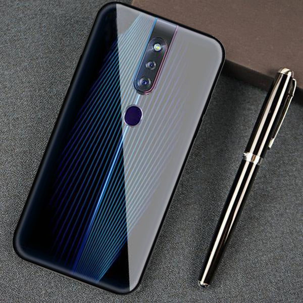 Oppo F11 Pro Electric Wave Design Toughened Glass Hard Case