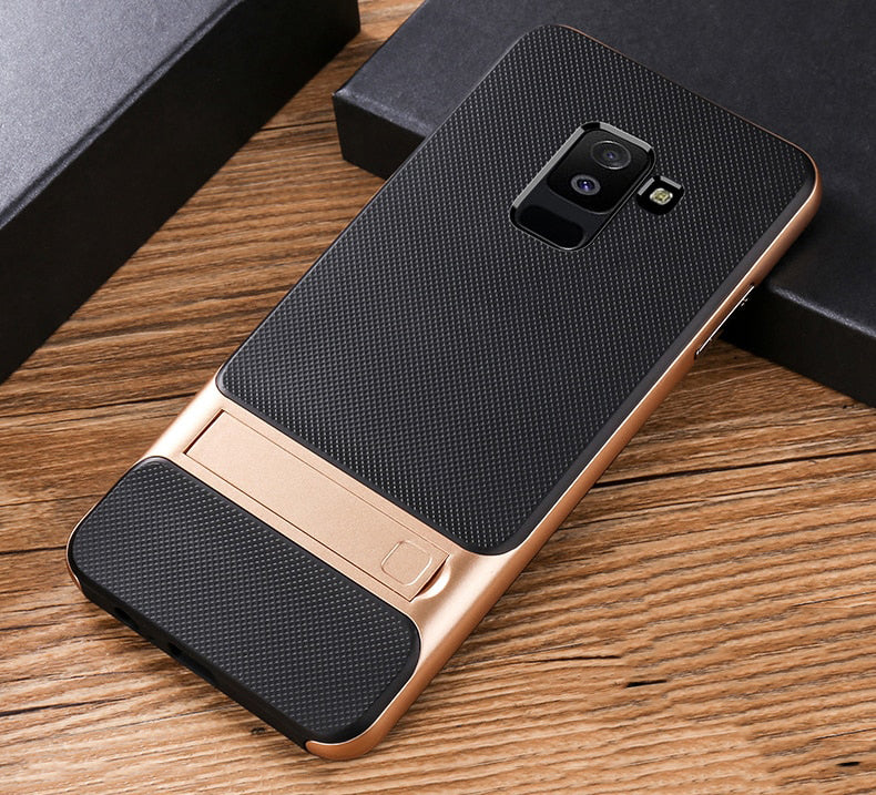 Samsung Galaxy A6 Plus Luxurious Kickstand Full Protection Matte Hybrid Shell