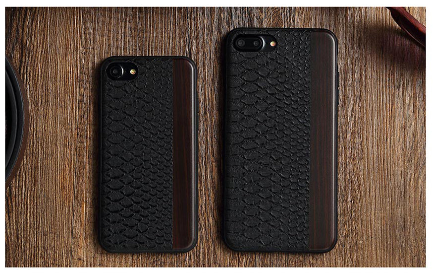 Apple iPhone 7 Plus / 8 Plus Totu Luxurious Scale Leather n Wood Hard Case