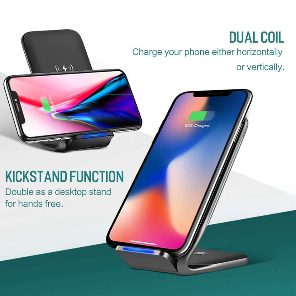 Rock High Speed Wireless Smartphone Charging Stand for Apple, Samsung and Other QI-Enabled Devices