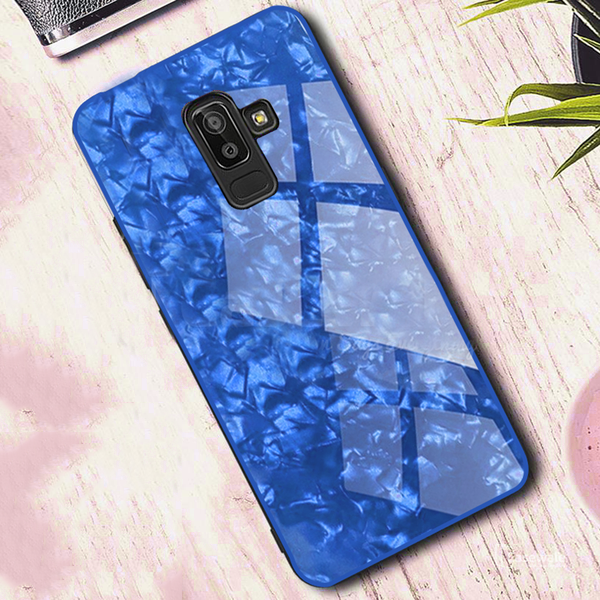 Samsung Galaxy J8 Ultra Slim Toughened Marble Glass Case