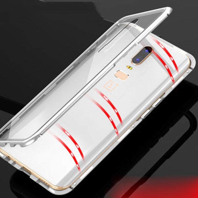 OnePlus 6 Magnetic Auto-Fit Aluminium Armoured Toughened Glass Case