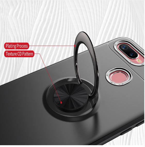 OPPO F9/F9 Pro Rotating Finger Ring Holder Cum Kickstand Soft Silicone Case