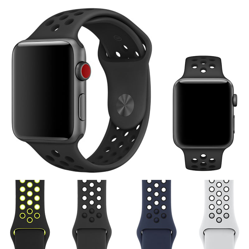 Apple iWatch 42mm Silicone Sport Strap Loop Design All Black (Watch not included)