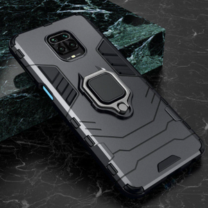 Redmi Note 9 Pro Shockproof Rugged Iron Man Armour Case With Rotating Magnetic Ring