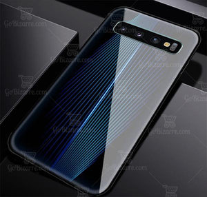 Samsung Galaxy S10 Plus Electric Wave Design Toughened Glass Hard Case