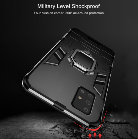Samsung Galaxy A51 Shockproof Rugged Iron Man Armour Case With Rotating Magnetic Ring