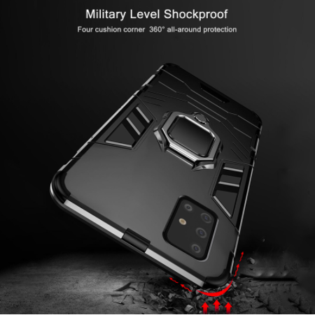 Samsung Galaxy A71 Shockproof Rugged Iron Man Armour Case With Rotating Magnetic Ring