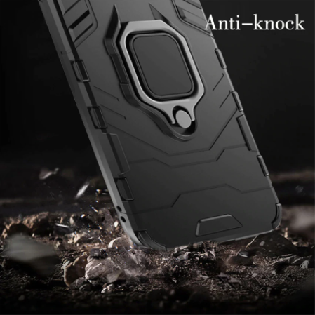 Oppo F15 Shockproof Rugged Iron Man Armour Case With Rotating Magnetic Ring