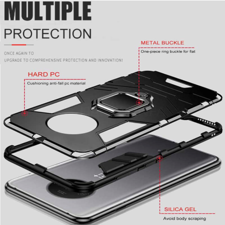 OnePlus 7T Shockproof Rugged Iron Man Armour Case With Rotating Magnetic Ring