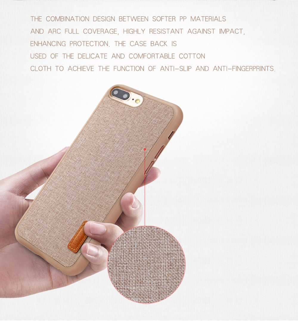iPhone 8 Plus Ultra Slim Modern Canvas Protective Fabric Artistic Grain hard Case