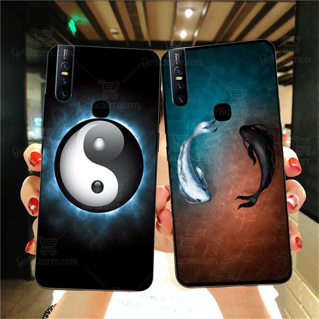 VIVO V15 Ultra Slim Toughened Yin Yang Good Luck Glass Case