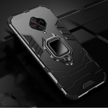 Vivo S1 Pro Shockproof Rugged Iron Man Armour Case With Rotating Magnetic Ring