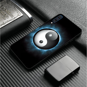 Samsung Galaxy A7 (2018) Ultra Slim Toughened Yin Yang Good Luck Glass Case