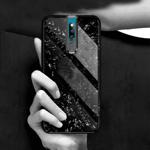 Oppo F11 Pro Ultra Slim Toughened Marble Glass Case