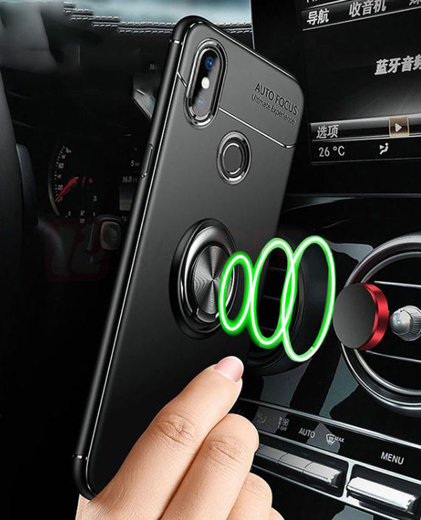 Redmi Note 6 Pro Rotating Finger Ring Holder Cum Kickstand Soft Silicone Case
