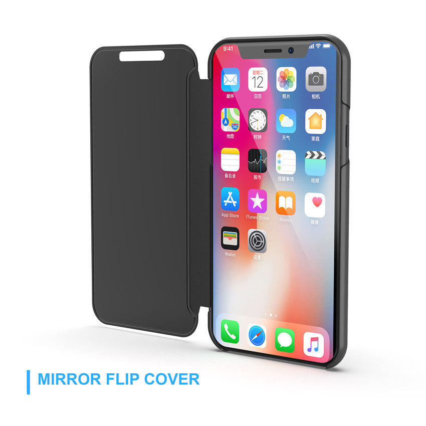 Apple iPhone Xs MAX Clear View Dynamic Standing Mirror Flip Cover (Non Sensor Working) (with Free 5D tempered Glass)