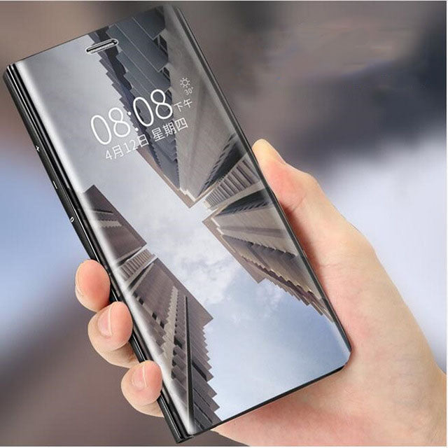 OPPO F7 Clear View Dynamic Standing Mirror Flip Cover (Non Sensor Working)