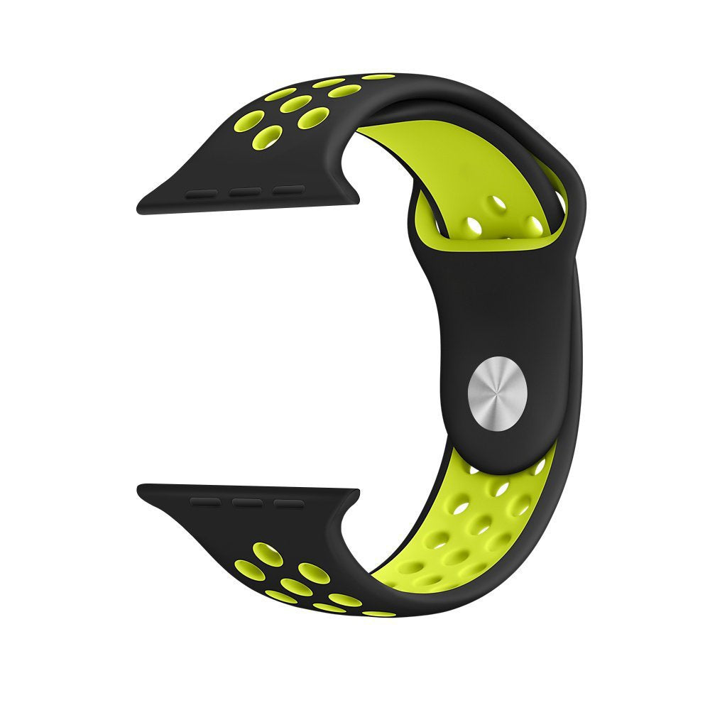 Apple iWatch 42mm Silicone Sport Strap Loop Design Black Green (Watch not included)