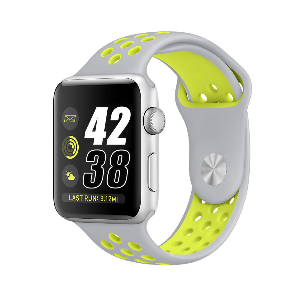 Apple iWatch 42mm Silicone Sport Strap Loop Design White Green (Watch not included)