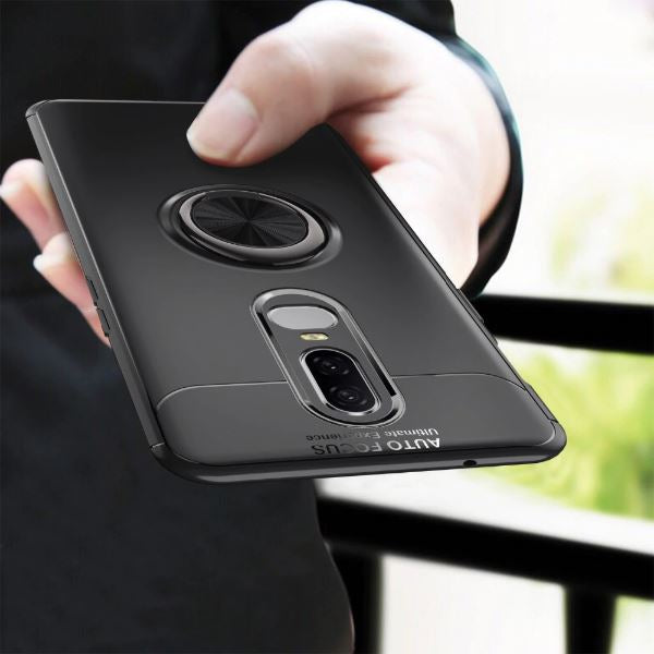 OnePlus 6T Rotating Finger Ring Holder Cum Kickstand Soft Silicone Case