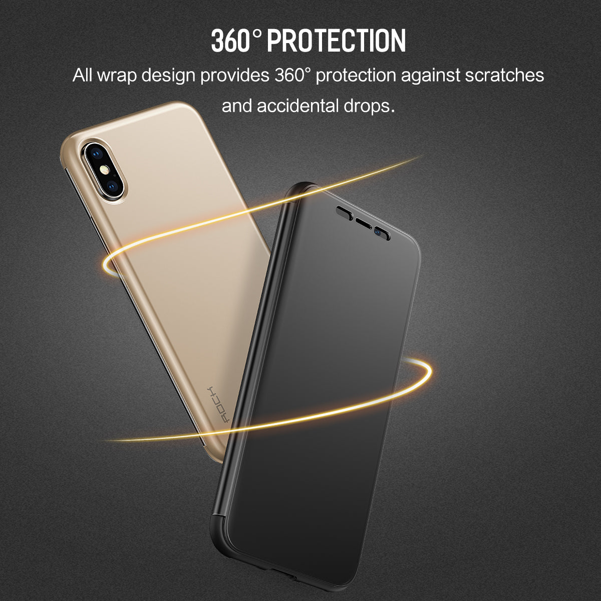 Rock Ultra Luxurious TouchScreen DR. V Slim Flip Case for iPhone X/Xs (Includes Free Back Tempered Glass)