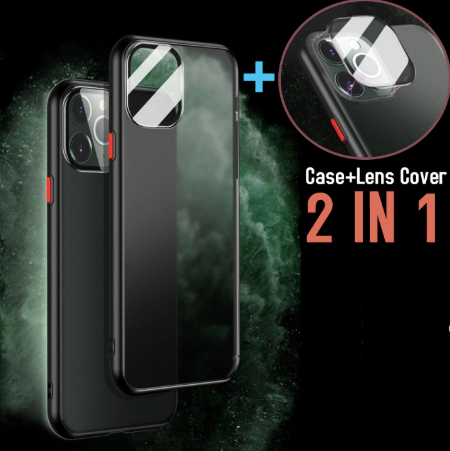 Apple iPhone 11 Luxurious 2 in 1 Camera Glass Smoky Matte Armour Case