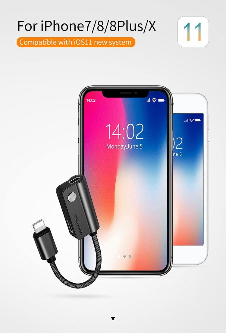 McDODO 3 in 1 Charging, Calling & Music Audio Extension Chord for Apple iPhone 7, iPhone 8 & iPhone X/Xs/Xs MAX